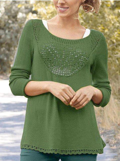 Green Acrylic Casual Sweater