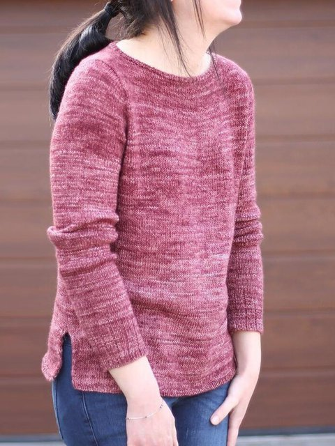 Wine Red Crew Neck Cotton-Blend Shift Casual Sweater