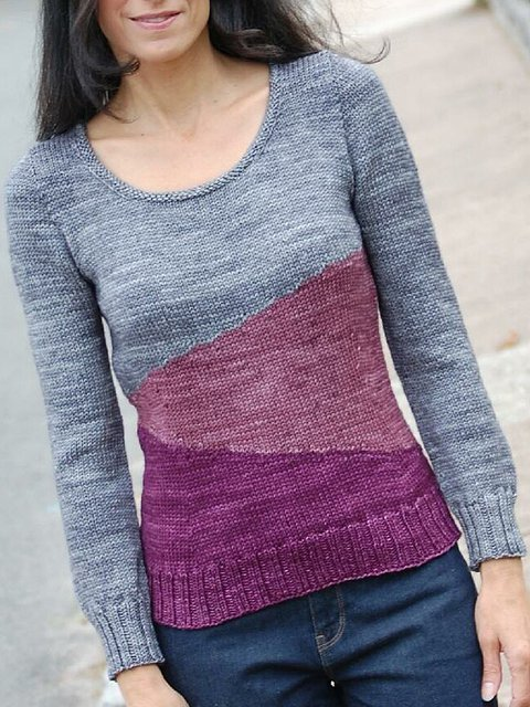 Wine Red Crew Neck Casual Cotton-Blend Sweater