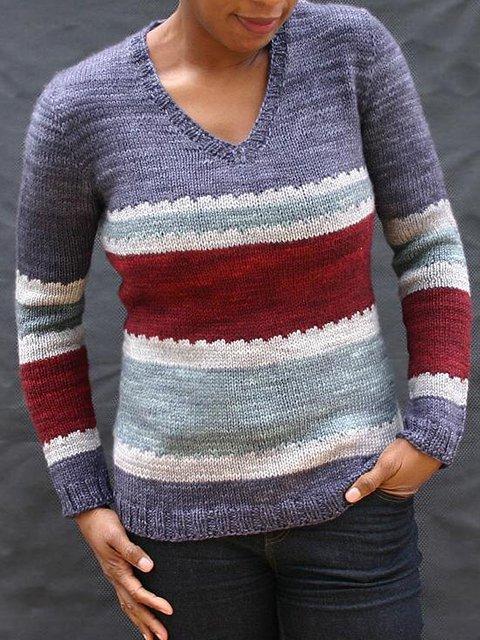 Gray Purple Stripes Vintage Crew Neck Sweater