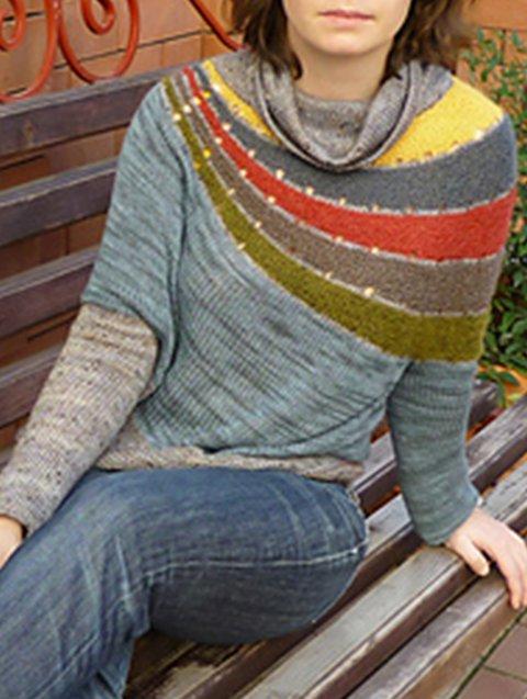 Multicolor Ombre/tie-Dye Cowl Neck Long Sleeve Sweater
