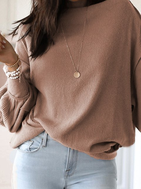 Casual Long Sleeve Solid Sweatshirt