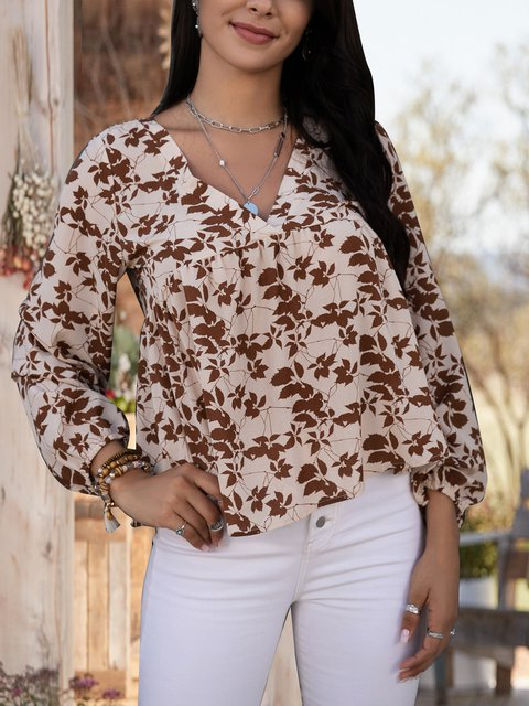 Apricot Cotton-Blend Paneled Floral Long Sleeve Shirts & Tops