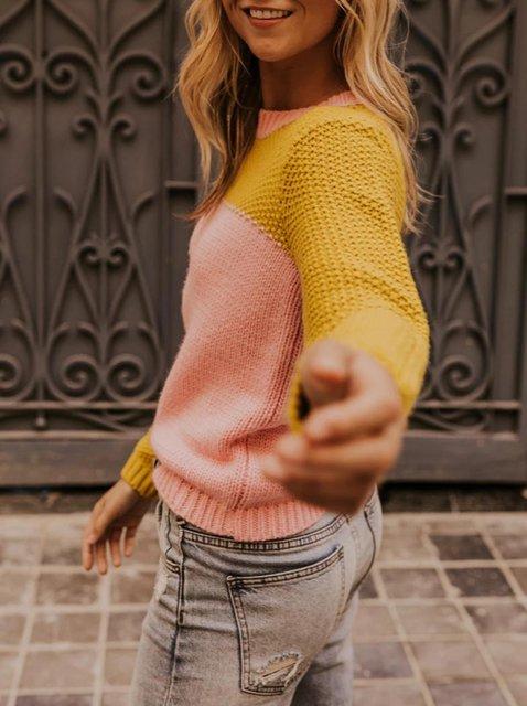 Pink Long Sleeve Acrylic Sweater
