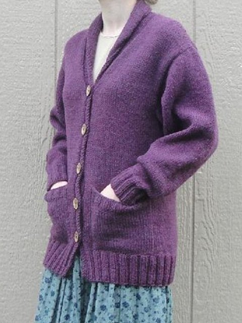 Purple Cotton-Blend Solid Vintage Outerwear