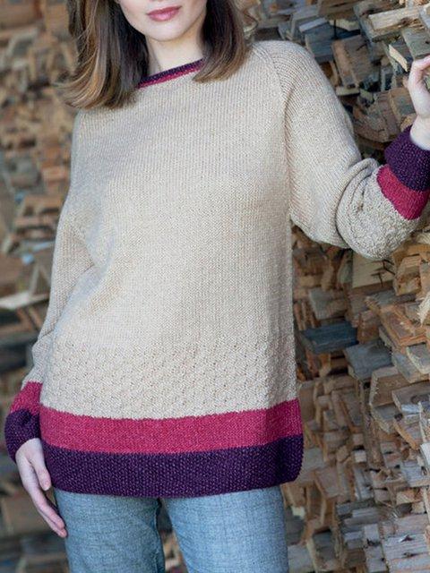 Beige Casual Long Sleeve Sweater