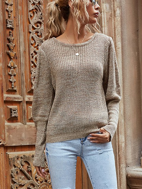 Loose Round Neck Long Sleeve Pullover Sweater