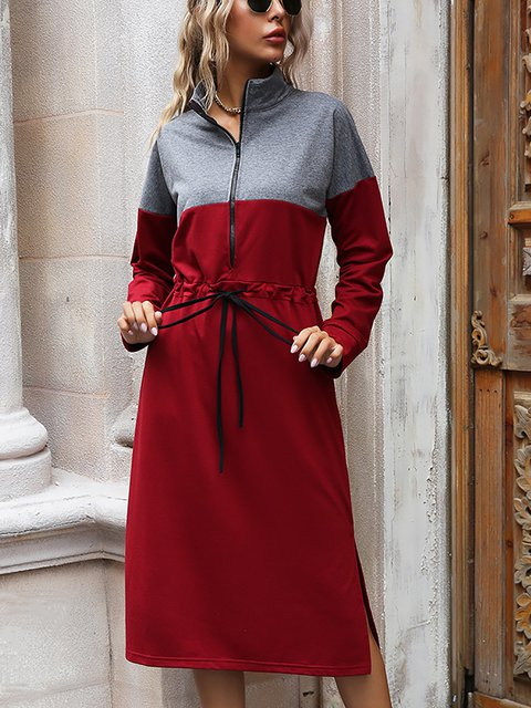 Lace Up Color-block Elastic Waist Pullover Mid Dress