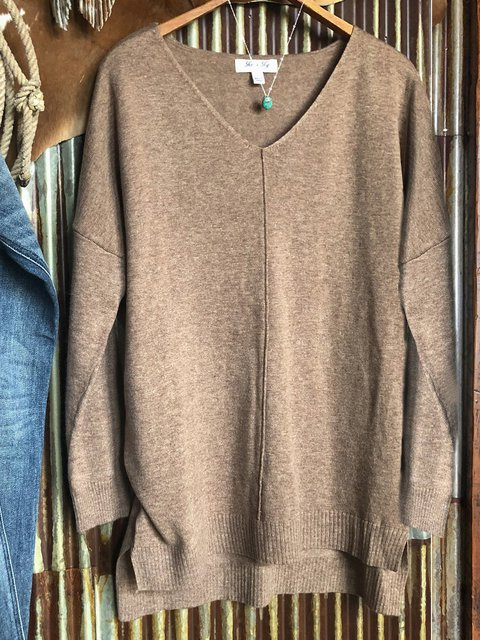 Brown Acrylic V Neck Long Sleeve Sweater