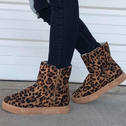 Gray Daily Cloth Winter Printed Boots