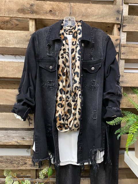 Black Casual Denim Jackets