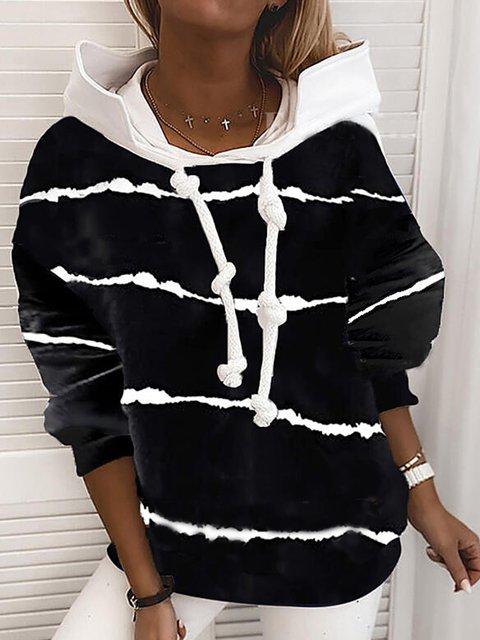 Black Cotton-Blend Striped Long Sleeve Shirts & Tops