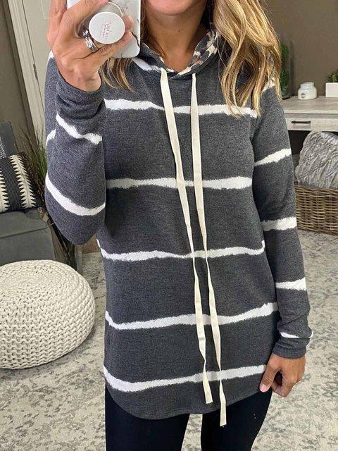 Black-Grey Casual Hoodie Shift Shirts & Tops