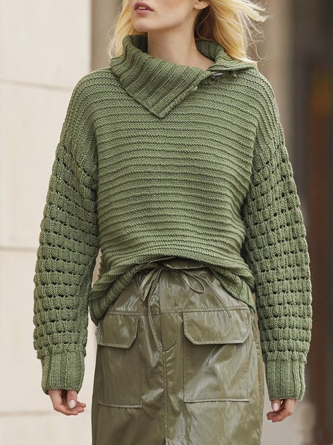 Green Asymmetrical Shift Casual Sweater