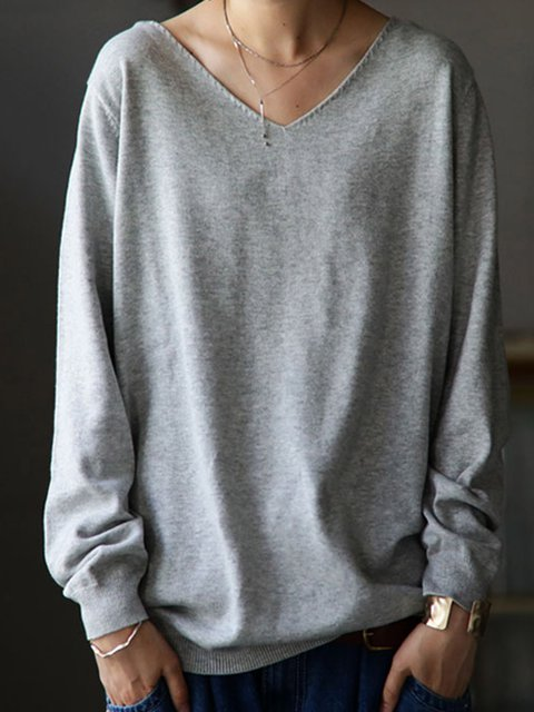 Gray Long Sleeve Solid V Neck Knitted T-Shirts