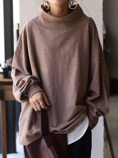 Deep Pink Turtleneck Casual Solid Sweatshirt