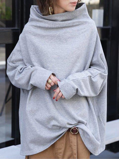 Gray Plain Long Sleeve Turtleneck Sweatshirt