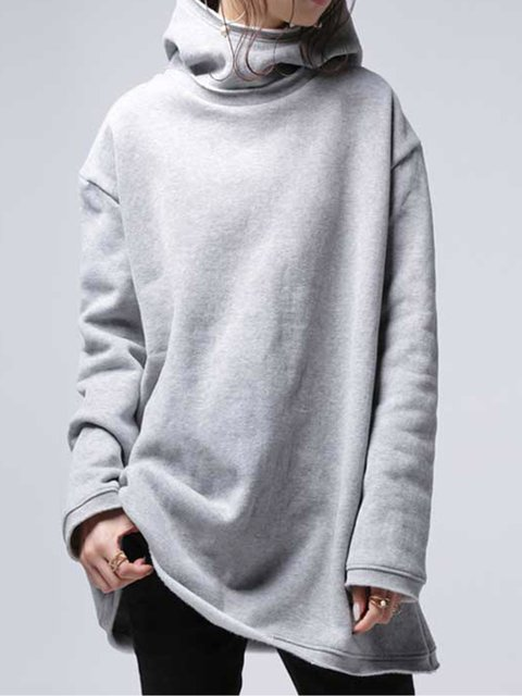Gray Hoodie Solid Long Sleeve Sweatshirt