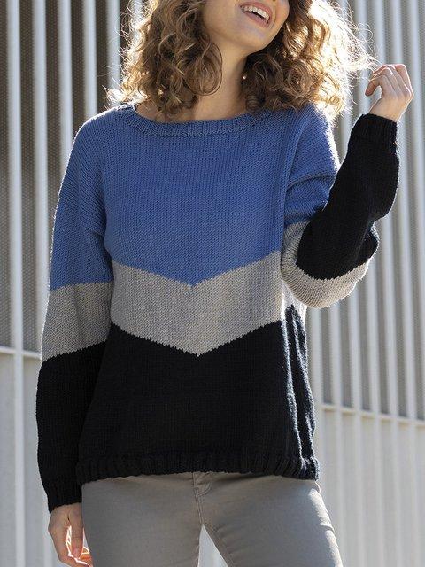 Blue Casual Acrylic Shift Sweater