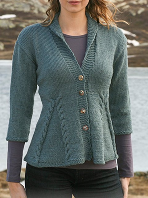 Khaki Knitted Acrylic V Neck Casual Sweater
