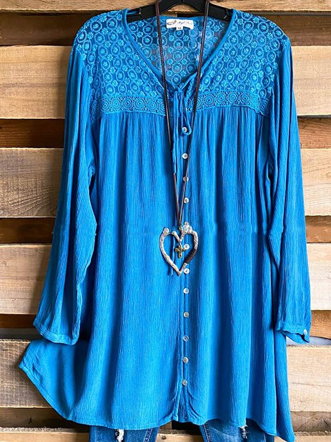 Embroidered Floral Patchwork Loose Drawstring V-neck Tunic Tops
