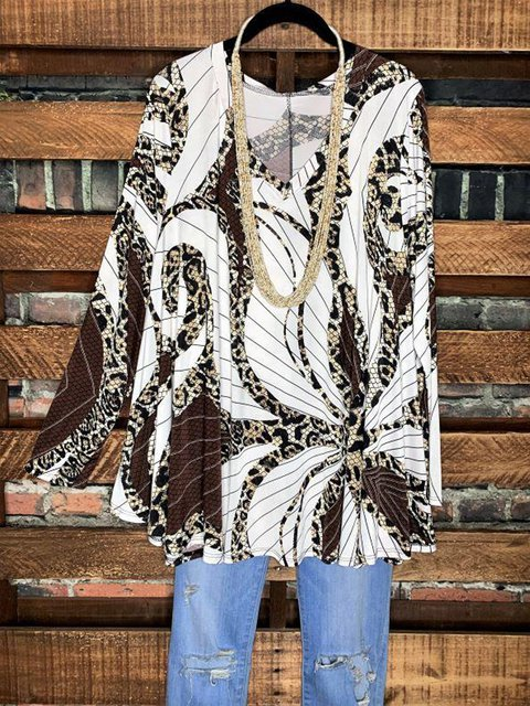 Loose casual abstract women's printed blouse