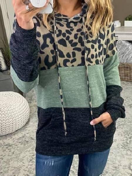 Green Casual Leopard Shift Shirts & Tops