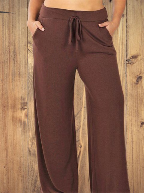 Brown Solid Color Loose Casual Pants
