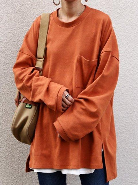 Khaki Hoodie Long Sleeve Pockets Sweatshirt