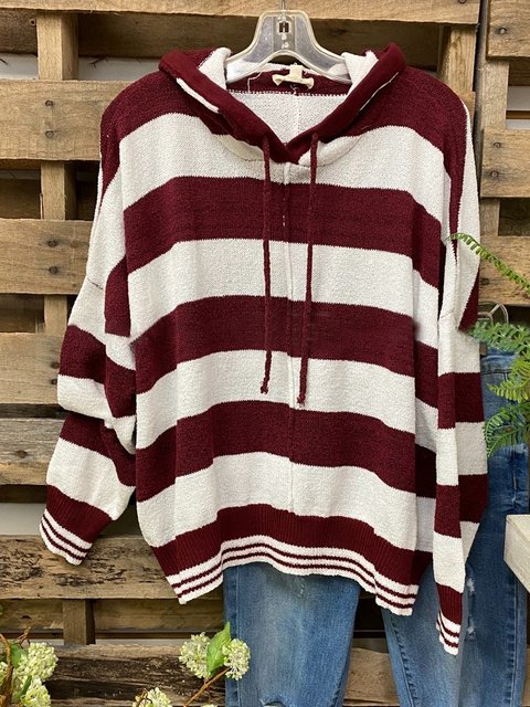 Red Striped Casual Sweater