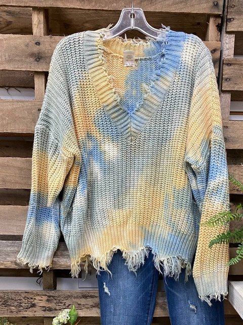 Yellow V Neck Long Sleeve Dip-Dyed Sweater