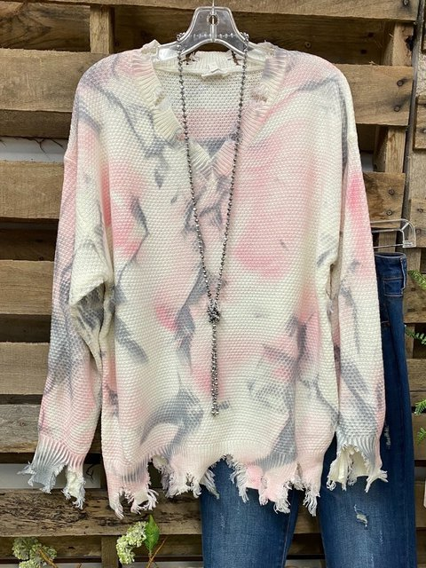 Multicolor Dip-Dyed V Neck Ombre/tie-Dye Long Sleeve Sweater