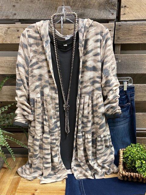 Multicolor Long Sleeve Cotton-Blend Outerwear