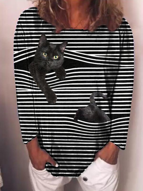 Plus size Stripes Casual Long Sleeve Shirts & Tops