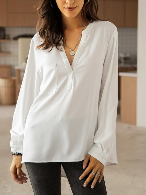 White Long Sleeve Plain Crew Neck Shirts & Tops