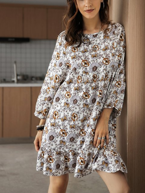 White Floral Long Sleeve A-Line Dresses