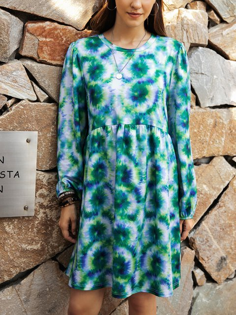 Green Crew Neck Casual Cotton-Blend Paneled Dresses