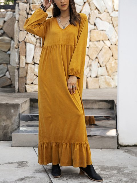 Yellow Long Sleeve V Neck Swing Plain Dresses