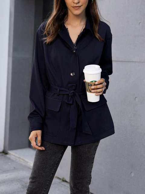 Blue Casual Cotton-Blend Paneled Outerwear