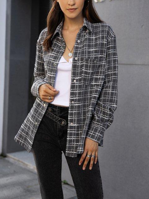 Gray Boho Shawl Collar Outerwear