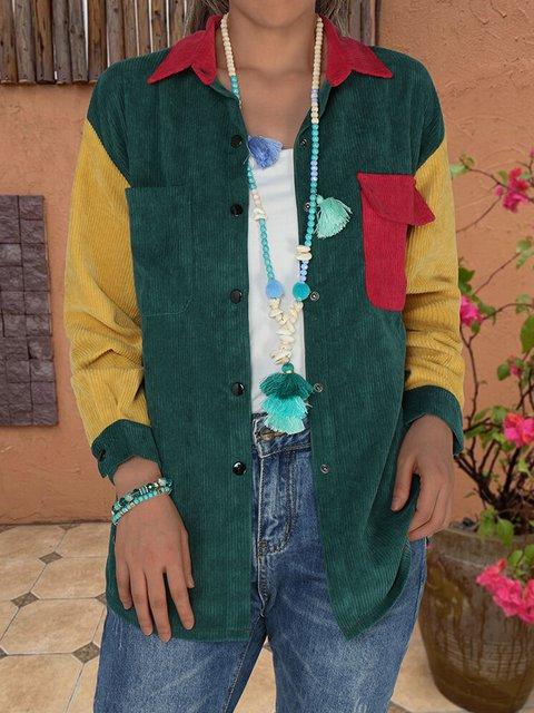 Retro contrast stitching corduroy warm casual shirt top