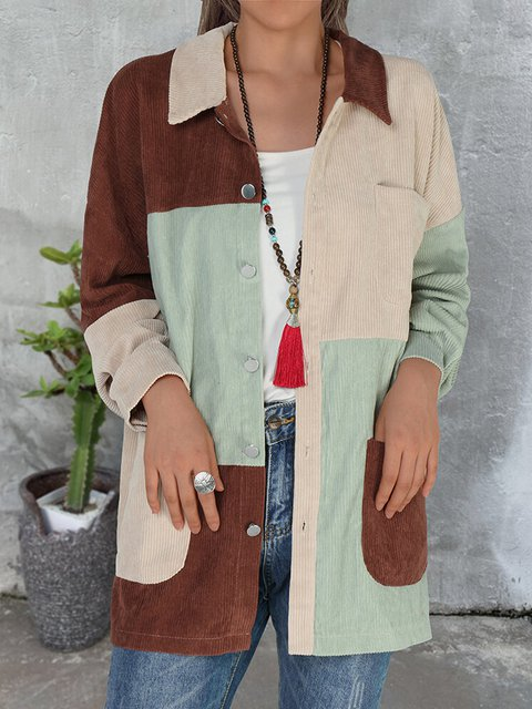 Retro color matching to increase comfort and warmth ladies shirt top