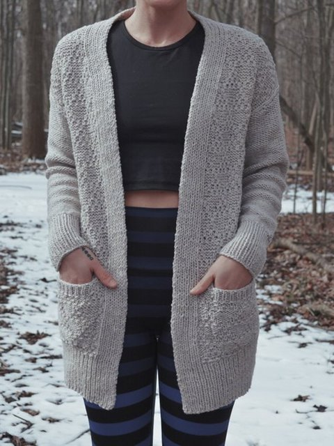 Gray Long Sleeve Pockets Casual Sweater Cardigan
