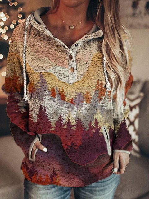 Women's autumn and winter long mountain print casual pocket hooded sweatshirt