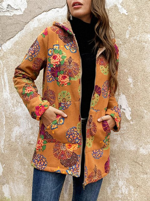 Hooded cardigan warm loose long sleeve coat
