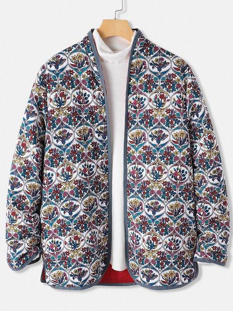 Retro floral cardigan and cotton warm coat