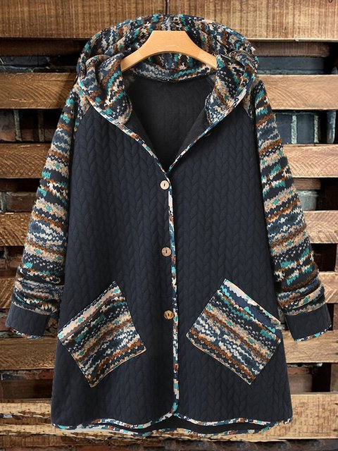 Retro hooded ethnic style stitching loose personality casual coat
