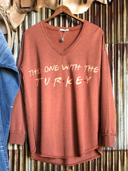 Red Cotton-Blend Long Sleeve V Neck Sweatshirt
