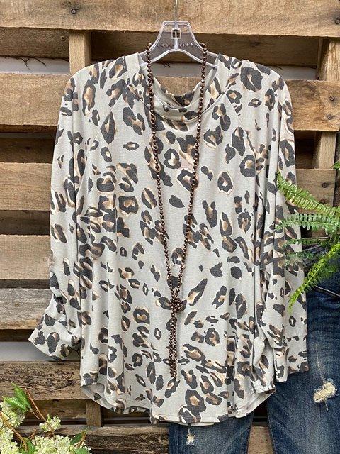Gray Long Sleeve Crew Neck Cotton-Blend Leopard Shirts & Tops