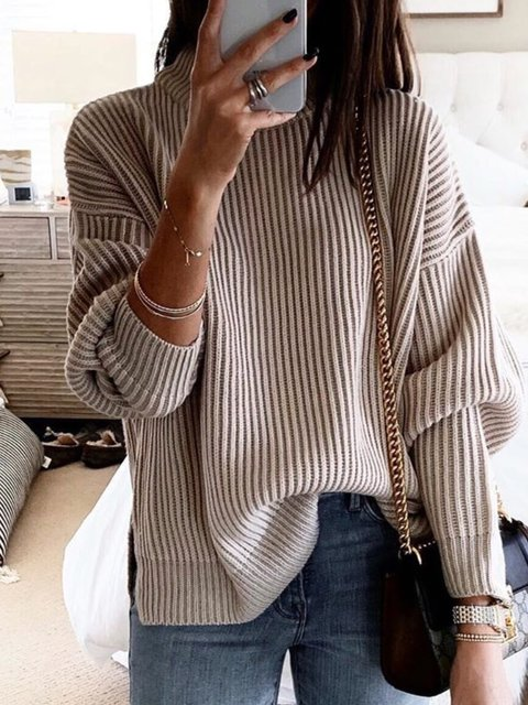 Coffee Cotton Long Sleeve Knitted Solid Sweater